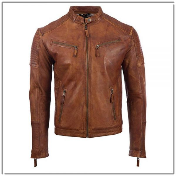 Mens Real Leather Biker Fashion Jacket Tan 11